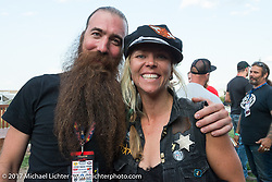 Stefan Hertel with Grand Marshal Jesse Combs at the Old Iron - Young Blood exhibition media and industry reception in the Motorcycles as Art gallery at the Buffalo Chip during the annual Sturgis Black Hills Motorcycle Rally. Sturgis, SD. USA. Sunday August 6, 2017. Photography ©2017 Michael Lichter.