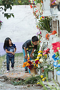 Young children play among the graves in the Nuestra Señora de Guadalupe cemetery during the Day of the Dead festival November 1, 2016 in San Miguel de Allende, Guanajuato, Mexico. The week-long celebration is a time when Mexicans welcome the dead back to earth for a visit and celebrate life.
