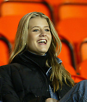 Fotball: Milan Baros girlfriend watches from the stands as the Czech Republic international mates his debut for Liverpool against Leeds during the Reserve match at Haigh Avenue, Southport. 150102<br />