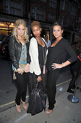 Left to right, MARISSA MONTGOMERY, TOLULA ADEYMI and SASKIA BOXFORD at a party to launch the new Belvedere Black Raspberry Maceration held at the Belvedere Black Raspberry Pop-up Store, 100 Mount Street, London W1 on 6th May 2009.