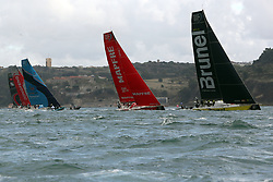 November 3, 2017 - Lisbon, Portugal - (R-L) Team Brunel captained by Dutch Bouwe Bekking, MAPFRE team captained by Spanish Xabi Fernandez, Vestas 11th Hour Racing team captained by American Charlie Enright, Dongfeng Race team captained by French Charles Caudrelier and Sun Hung Kai - Scallywag team captained by Australian David Witt in action during the Volvo Ocean Race 2017-2018 In-port Race at the Tagus River in Lisbon, Portugal on November 3, 2017. Team Brunel won the in-port race. (Credit Image: © Pedro Fiuza/NurPhoto via ZUMA Press)