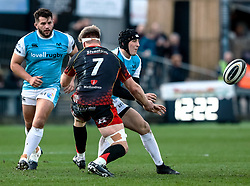 Sam Davies of Ospreys gets the ball away<br /> <br /> Photographer Simon King/Replay Images<br /> <br /> Guinness PRO14 Round 12 - Dragons v Ospreys - Sunday 30th December 2018 - Rodney Parade - Newport<br /> <br /> World Copyright © Replay Images . All rights reserved. info@replayimages.co.uk - http://replayimages.co.uk