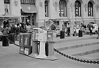 Free newspaper boxes including the Village Voice in Manhattan New York circa 2000