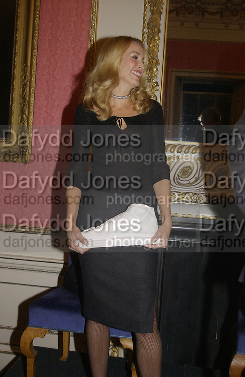 Christopher H. winner of the prize with Jerry Hall. Bad Sex Awards. In and Out Club. 4 December 2001. © Copyright Photograph by Dafydd Jones 66 Stockwell Park Rd. London SW9 0DA Tel 020 7733 0108 www.dafjones.com