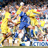 Photo: Mike Greenslade..Cardiff City v Sheffield Wednesday..Coca Cola Championship League..07.04.07..Ninian Park..KO 3pm... Owls striker Leon Clarke causes havock in the Cardiff defence