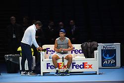 November 10, 2017 - London, England, United Kingdom - Rafael Nadal of Spain (R) and Toni Nadal speak before a training session prior to the Nitto ATP World Tour Finals at O2 Arena, London on November 10, 2017. (Credit Image: © Alberto Pezzali/NurPhoto via ZUMA Press)