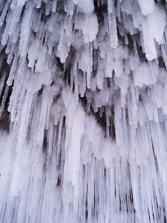 Color photograph, detail, of the Apostle Island Ice Caves, Makwike Bay, near Bayfield, Wisconsin, on a cold February day.