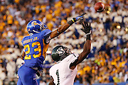 San Jose State Spartans wide receiver NOEL GRIGSBY<br /> (23) battles Sacramento State Hornets defensive back OSAGIE ODIASE (1) in the air for a pass during the season opener at San Jose State University's Spartan Stadium in San Jose, California, on August 29, 2013. The San Jose State Spartans beat the Sacramento State Hornets 24-0. (Stan Olszewski/ZUMA Press)