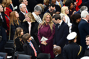 Vanessa Trump, center, wife of Donald Trump Jr., talks with Jared Kushner, husband of Ivanka Trump during the 68th President Inaugural Ceremony on Capitol Hill January 20, 2017 in Washington, DC. Donald Trump became the 45th President of the United States in the ceremony.