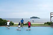 skateboarding at Umikaze park Yokosuka with Tokyo bay and Sarushima Island