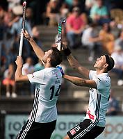 ROTTERDAM - Nicky Leijs (A'dam) met Justin Reid-Ross  bij de finale Rotterdam-Amsterdam van de ABN AMRO cup 2017 . COPYRIGHT KOEN SUYK