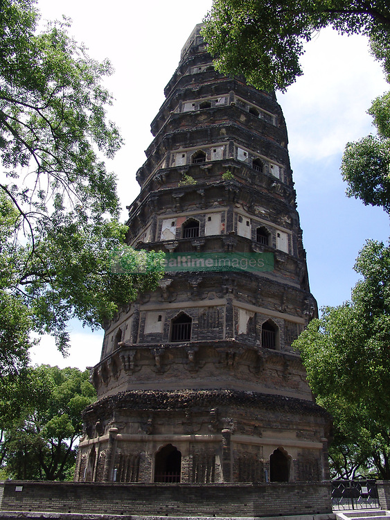 June 14, 2017 - Suzhou, Suzhou, China - Suzhou, CHINA-June 14 2017: (EDITORIAL USE ONLY. CHINA OUT)..The Pagoda at Tiger Hill, dubbed as 'Leaning Tower of Pisa' in China, is located in Suzhou, east China's Jiangsu. The pagoda, built in 601, is regarded as China's first leaning tower. (Credit Image: © SIPA Asia via ZUMA Wire)