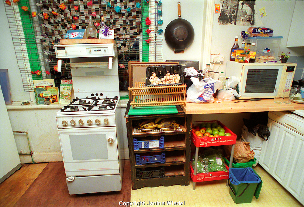 Kitchen at St Agnes Place squat in South London.