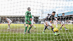 Dundee's Kane Hemmings cele scoring their goal. <br /> Dundee 1 v 1 Inverness Caledonian Thistle, SPFL Ladbrokes Premiership game played at Dens Park, 27/2/2016.
