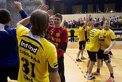 Players of Gorenje celebrate after winning the handball match between RK Gorenje Velenje vs RK Cimos Koper in 8th Round of 1st NLB Leasing league 2011/12, on May 12, 2012 in Rdeca dvorana, Velenje, Slovenia.  (Photo by Vid Ponikvar / Sportida.com)