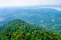 Riau Islands, Bintan. View over Bintan with the highest point on the island, Bintan Besar, in the foreground, at 376 meter above sea level (from helicopter).