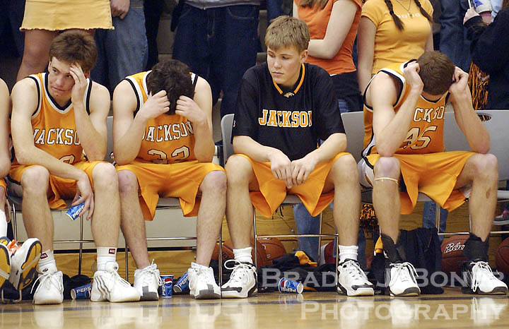 Jackson seniors Troy Krewson, Justin Taylor, Kent VonKrosigk and Ryan Forbes contemplate their team's impending loss to Star Valley during the final seconds of the fourth quarter. The Broncs were defeated by their arch rivals for the fifth straight year.