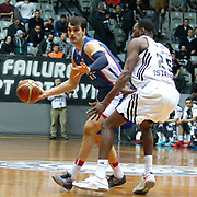 Anadolu Efes's Dario Saric (L) during their Turkish basketball league match Besiktas integral Forex between Anadolu Efes at BJK Akatlar Arena in Istanbul, Turkey, Monday, January 05, 2015. Photo by TURKPIX