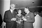 16/06/1967<br /> 06/16/1967<br /> 16 June 1967<br /> General Assembly of the Wine and Spirit Federation Farewell dinner at the Hibernian Hotel, Dublin, that ended the 1967 General Assembly of the Federation Internationale des Industries et du Commerce en Gros des Vines, Spiriteux, Eaux-de-vie, et Liqueurs, held in Dublin for the first time.<br /> Picture shows (l-R):Mr. C.J. Ryan, Production Director, John Power and Son, Ltd.; Mrs Ryan and Mr. Eberhard Ott, President, German Wine Merchants' Association chatting at the reception before dinner.