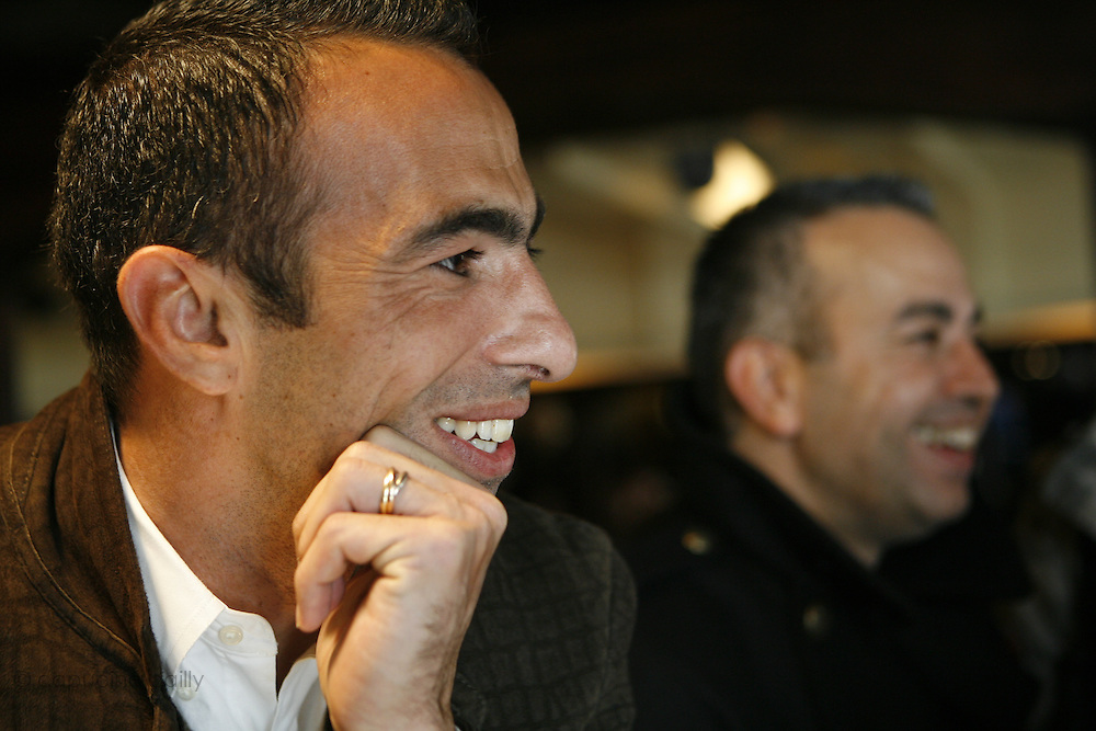Saturday October 14th 2006. New York, New York. United States..Red Bulls French soccer player Youri Djorkaeff (left) and Denis (his older brother) at L'Express on Park Avenue in the morning of a game that could be his last one as a professional player against Kansas City at the Giants Stadium.