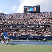 Roger Federer, Switzerland, in action against Fernando Verdasco, Spain, during the US Open Tennis Tournament, Flushing, New York. USA. 1st September 2012. Photo Tim Clayton