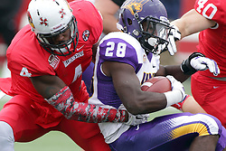 03 October 2015: David Perkins(4) makes the initial contact on Savon Huggins(28).  NCAA FCS Football between Northern Iowa Panthers and Illinois State Redbirds at Hancock Stadium in Normal IL (Photo by Alan Look)