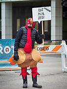 28 NOVEMBER 2019 - DES MOINES, IOWA: A man dressed as a turkey at the end of the Turkey Trot. The Turkey Trot is an annual Des Moines Thanksgiving Day 5 mile fun run.                   PHOTO BY JACK KURTZ