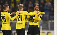 Fotball<br /> Tyskland<br /> Foto: Witters/Digitalsport<br /> NORWAY ONLY<br /> <br /> 1:5 Jubel Dortmund v.l. Lukasz Piszczek, Andre Schuerrle, Torschuetze Ousmane Dembele, Pierre-Emerick Aubameyang<br /> Hamburg, 05.11.2016, Fussball Bundesliga, Hamburger SV - Borussia Dortmund 2:5