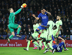 Joe Hart of Manchester City punches away a free kick  - Mandatory byline: Jack Phillips/JMP - 07966386802 - 29/12/2015 - SPORT - FOOTBALL - Leicester - King Power Stadium - Leicester City v Manchester City - Barclays Premier League