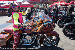 Diva Amy Skaling on her bedazzled bagger at the Iron Horse Saloon after the Harley-Davidson Angels Ride to benefit the Nature Conservancy during the annual Sturgis Black Hills Motorcycle Rally.  SD, USA.  August 12, 2016.  Photography ©2016 Michael Lichter.