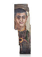Egyptian Roman mummy portrait or Fayum mummy portrait painted panel of a man, Roman Period, 1st to 3rd cent AD, Egypt. Egyptian Museum, Turin. White background.<br /> <br /> Mummy portraits or Fayum mummy portraits (also Faiyum mummy portraits) are a type of naturalistic painted portrait on wooden boards attached to Upper class mummies from Roman Egypt. They belong to the tradition of panel painting, one of the most highly regarded forms of art in the Classical world. he portraits covered the faces of bodies that were mummified for burial. Extant examples indicate that they were mounted into the bands of cloth that were used to wrap the bodies. .<br /> <br /> If you prefer to buy from our ALAMY PHOTO LIBRARY  Collection visit : https://www.alamy.com/portfolio/paul-williams-funkystock/ancient-egyptian-art-artefacts.html  . Type -   Turin   - into the LOWER SEARCH WITHIN GALLERY box. Refine search by adding background colour, subject etc<br /> <br /> Visit our ANCIENT WORLD PHOTO COLLECTIONS for more photos to download or buy as wall art prints https://funkystock.photoshelter.com/gallery-collection/Ancient-World-Art-Antiquities-Historic-Sites-Pictures-Images-of/C00006u26yqSkDOM