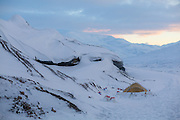 "One of explorer ""Polar Bear""'s (Fjell Tours) tents on Tellbreen, Svalbard during his overwinter ""Where is the Sun?"" expedition on the glacier."