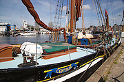 Historic sailing barge at quayside mooring in the Wet Dock, Ipswich, Suffolk, England