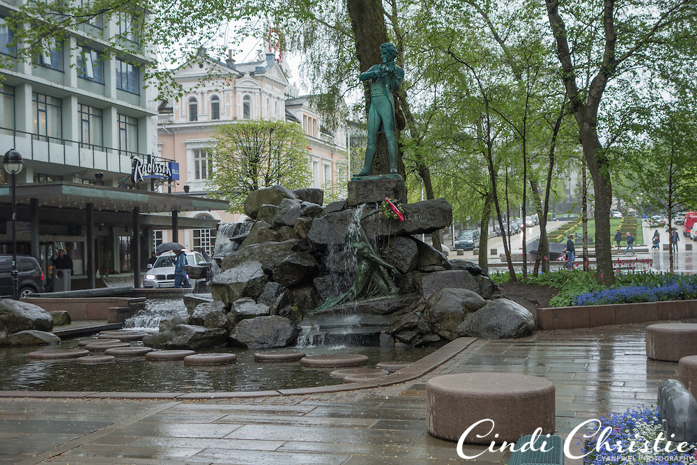 Violinist and composer Ole Bull is honored with a statue and public space in the heart of Bergen, Norway, visited on May 21, 2013. (© 2013 Cindi Christie)