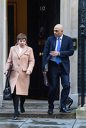 Downing Street, London, February 2nd 2016. Leader of the House of Lords Baroness Stowell and Business Secretary Sajid Javid leave No 10 after attending the weekly Cabinet meeting. ///FOR LICENCING CONTACT: paul@pauldaveycreative.co.uk TEL:+44 (0) 7966 016 296 or +44 (0) 20 8969 6875. ©2015 Paul R Davey. All rights reserved.