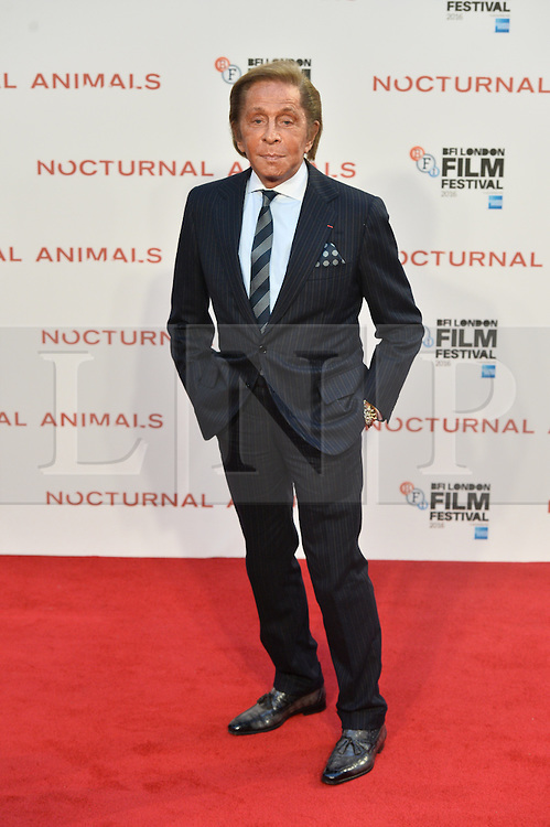 © Licensed to London News Pictures. 14/10/2016. VALENTINO attends the Nocturnal Animals film premiere of as part of the London Film Festival. London, UK. Photo credit: Ray Tang/LNP