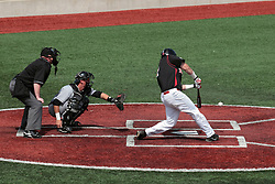 26 April 2014:    Umpire Bret Bruington, catcher Matt Jones and batter Mike Hollenbeck during an NCAA Division 1 Missouri Valley Conference (MVC) Baseball game between the Southern Illinois Salukis and the Illinois State Redbirds in Duffy Bass Field, Normal IL