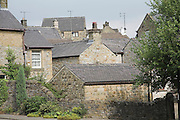 Stone walls and slate roofs of houses in Bakewell, Derbyshire, England