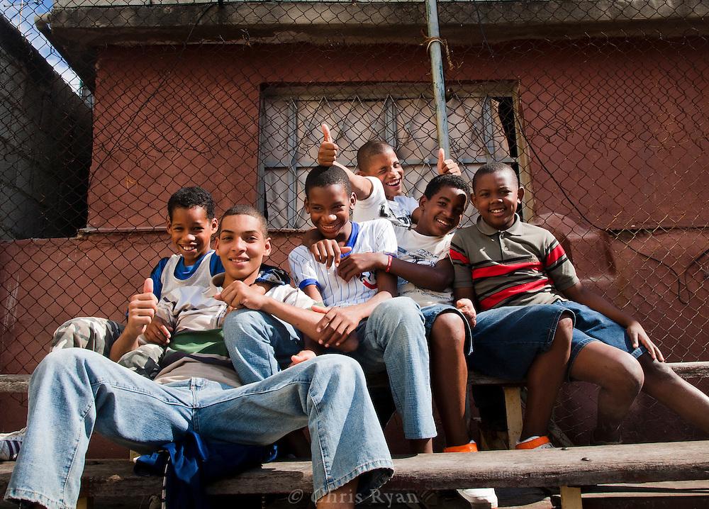 Boys watching the boxing matches, Havana, Cuba