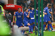 Daniel Amartey of Leicester City (c) celebrates with his teammates after scoring his teams 2nd goal. Premier league match, Stoke City v Leicester City at the Bet365 Stadium in Stoke on Trent, Staffs on Saturday 17th December 2016.<br /> pic by Chris Stading, Andrew Orchard sports photography.