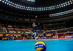 06-10-2018 JPN: World Championship Volleyball Women day 7, Nagoya<br /> Press conference coaches group Nagoya after training day for Netherlands and Brazil / Mikasa ball Japan 2018, serve Laura Dijkema #14 of Netherlands