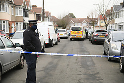 ©Licensed to London News Pictures; 10/01/2021, London UK; Met detectives launch a murder investigation in Tavistock Gardens Ilford, East London after two males were found at the address with fatal injuries at around 4.30 this morning. Police are questioning a 28 year old female also found at the address with minor injuries : Photo credit, Steve Poston/LNP