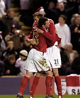 Photo: Jed Wee.<br /> England v Uruguay. International Friendly. 01/03/2006.<br /> <br /> England's Peter Crouch (R) celebrates with Liverpool team mate Jamie Carragher.