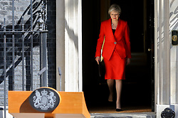 © Licensed to London News Pictures. 24/05/2019. London, UK. British Prime Minister Theresa May makes a statement in Downing Street after meeting Graham Brady, the chair of 1922 committee. Theresa May will resign as Prime Minister and the leader of the Conservative Party on 7 June 2019. Photo credit: Dinendra Haria/LNP