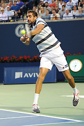 August 10, 2018 - Toronto, ON, Canada - Croatian professional tennis player, Marin ?ili? in action in his quarter-final match in the Rogers Cup tennis tournament in Toronto, Canada. (Credit Image: © Mike Mastrandrea via ZUMA Wire)