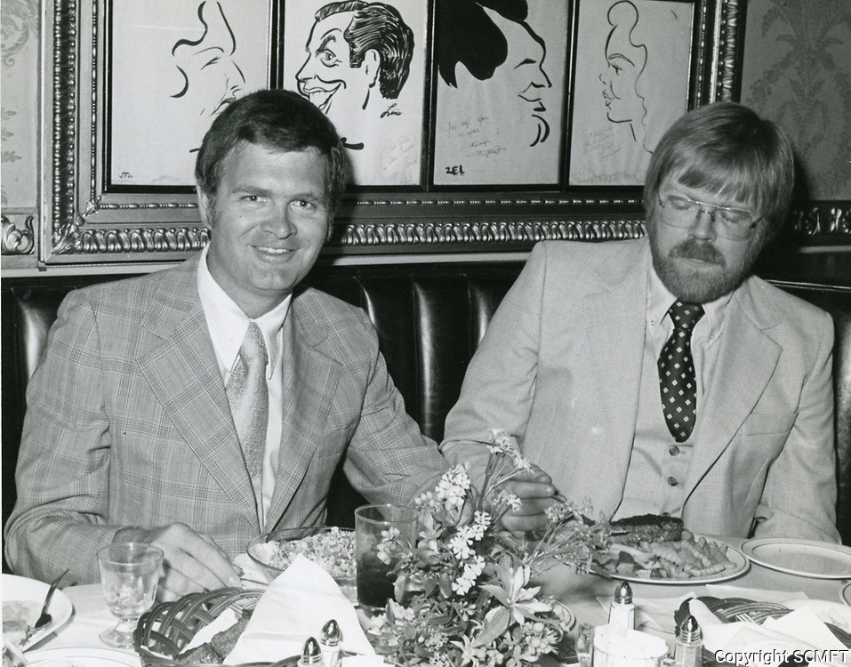 1977 Don Drysdale having dinner at the Brown Derby Restaurant on Vine St. in Hollywood