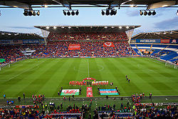 CARDIFF, WALES - Friday, September 6, 2019: Wales and Azerbaijan players line-up for the national anthems before the UEFA Euro 2020 Qualifying Group E match between Wales and Azerbaijan at the Cardiff City Stadium. (Pic by Paul Greenwood/Propaganda)