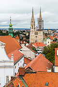 View from Lotrščak Tower in old town Gradec, Zagreb, Croatia