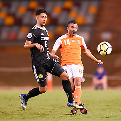 BRISBANE, AUSTRALIA - JANUARY 23: Fahid Ben Khalfallah of the Roar passes the ball during the AFC Champions League Second Preliminary Round match between Brisbane Roar and Ceres Negros FC on January 23, 2017 in Brisbane, Australia. (Photo by Patrick Kearney)