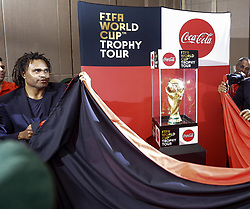 January 24, 2018 - Colombo, Sri Lanka - Christian Karembeu (L), a member of the French football team that won the 1998 World Cup unveils the 2018 FIFA World Cup Trophy  at Colombo, Sri Lanka on Wednesday 24 January 2018... The 2018 FIFA World Cup Trophy is scheduled to visit more than 54 countries around the globe starting from Sri Lanka. (Credit Image: © Tharaka Basnayaka/NurPhoto via ZUMA Press)